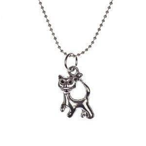 Silver colored cat necklace