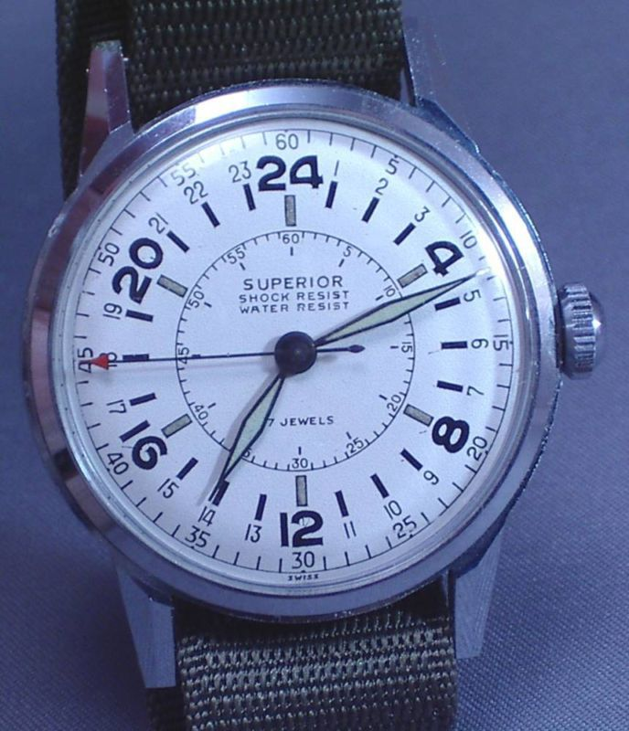 A very beautiful vintage Swiss 24 hour #watch. I was tempted, but I am not yet so far gone that US $490 for a second hand watch makes sense. http://r.ebay.com/rXWLZm