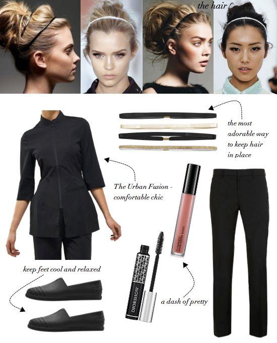 The Urban Fusion spa top by Noel Asmar  || Beauty Uniforms || Beauty Tunics || Salon Wear || Salon Uniform || Spa Uniforms || Spa Wear || day spa || massage therapy room || esthetician room || aesthetician room || esthetics || skin care || body waxing || hair removal || body scrub || body treatment room