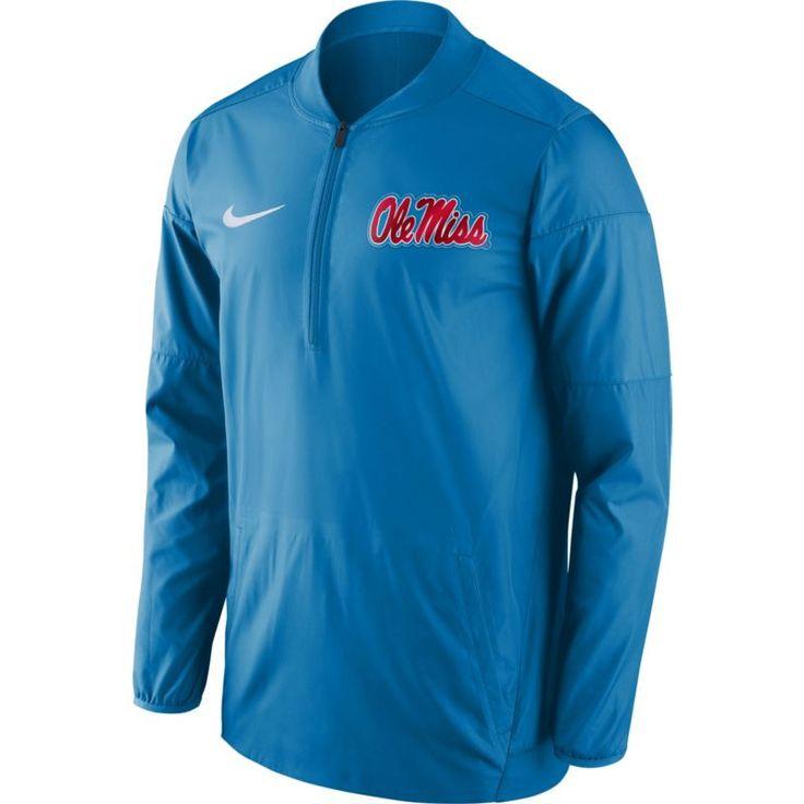 Nike Men's Ole Miss Rebels Blue Lockdown Sideline Half-Zip Jacket, Size: Medium, Team