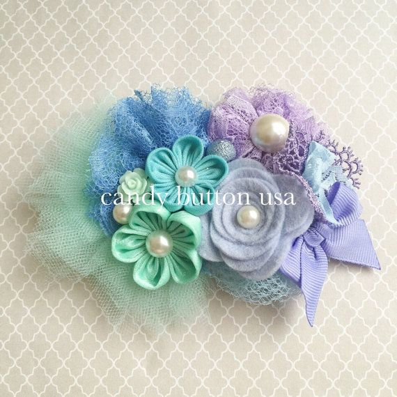 Purple Mint Flower Lace Baby Headband  Baby by candybuttonusa