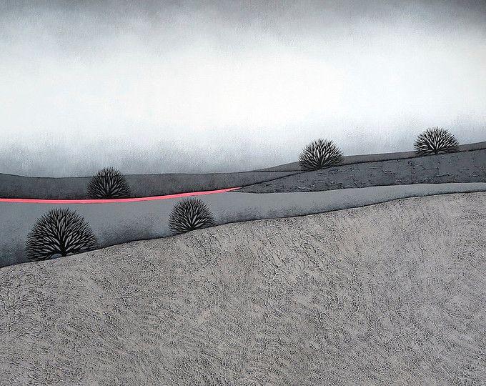 Intermedio 5 - archivo 8 x 8 lámina - pintura de paisaje de invierno minimalista contemporáneo - gris, rosado neón - Natasha Newton