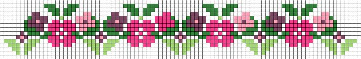 Floral border pattern /  Micro macrame / alpha friendship bracelet pattern / cross stitch chart - can also be used for crochet, knitting, knotting, beading, weaving, pixel art, and other crafting projects.