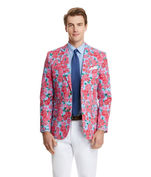 """Wear It Proud! The Kentucky Derby is all About Getting Dressed Up and Decked Out in Fine Summer Togs. And, What Better Way to Show this than Wearing the """"Run for the Roses"""" All Over Your Sportcoat, From Vineyard Vines?"""
