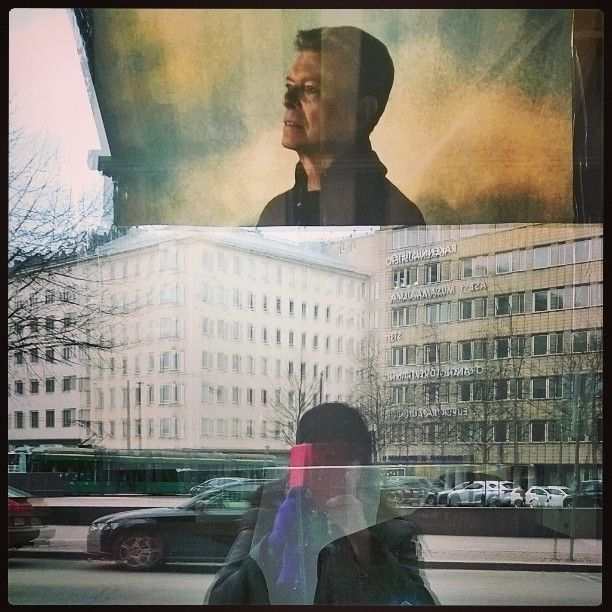Me and mister #Bowie above us all. #reflections #windowshopping at #LevykauppaÄx #recordstore #Helsinki 15.4.16