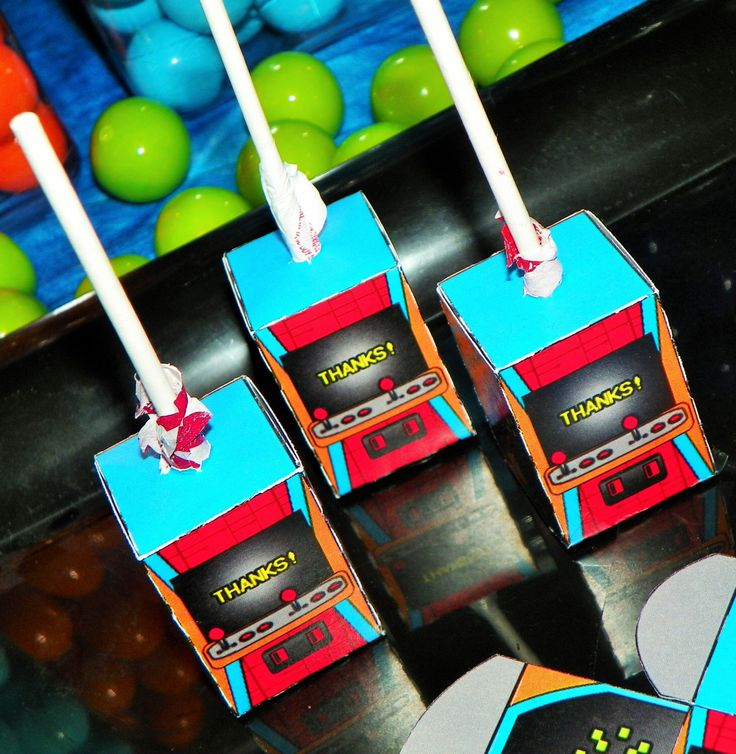 Video Game Birthday Party Lollipop Boxes. Arcade Party Favors. Video Game Themed…