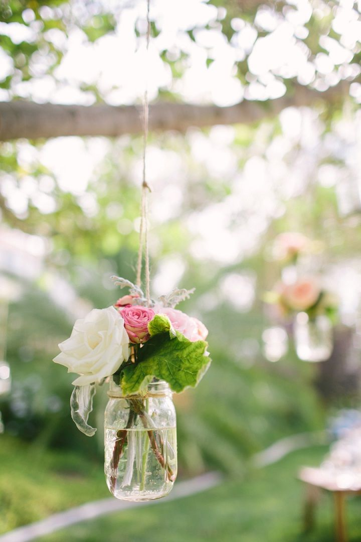 Unique wedding reception ideas on a budget - Hang Mason jar filled in roses so simple wedding decoration for garden wedding, unique wedding ideas,cool