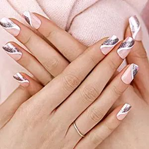 ArtPlus 24pcs Silver Pink False Nails French Manicure Full Cover Long Length with Glue Fake Nails