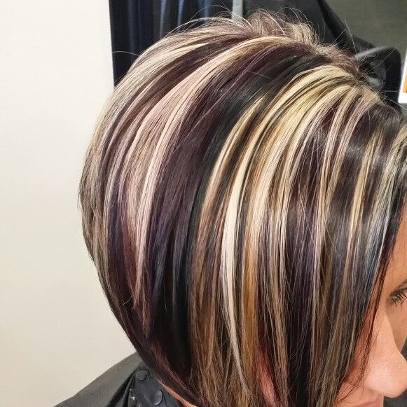 Purple Lowlights Dark And Platinum Hair Artist Tabitha