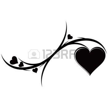 tattoo+hart%3A+De+decoratieve+ornament+met+hartjes.+Tattoo.+Vector+illustratie.+Stock+Illustratie