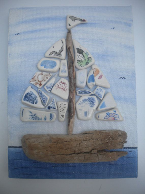 Stone Pebble Art Driftwood Painting Picture Made by DengraDesigns
