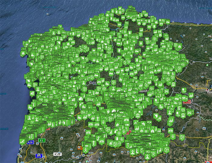 Nova prestación de patrimoniogalego.net: consulta todo o catálogo á vez desde Google Earth