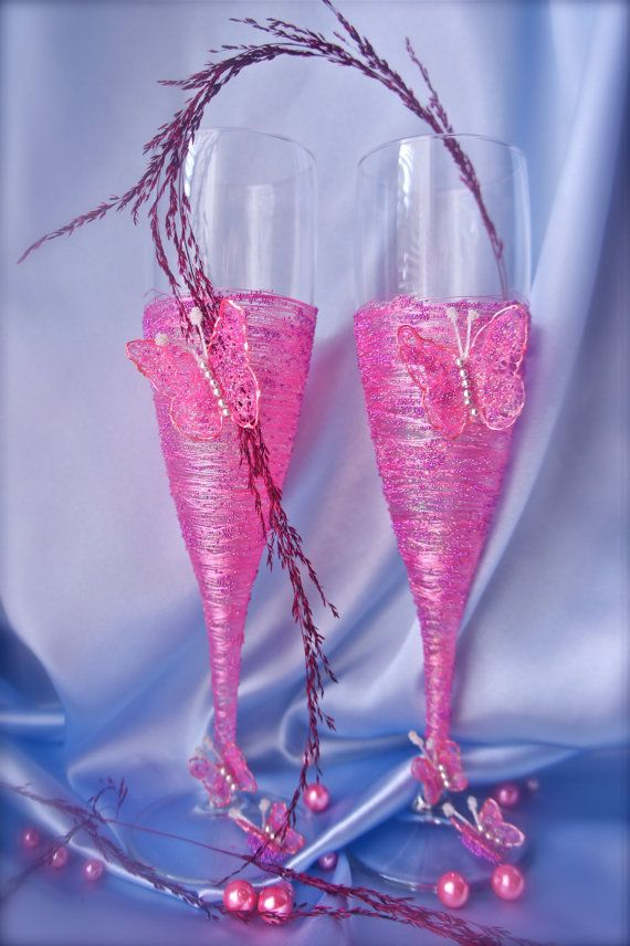 Wedding Champagne GlassesDecorated With Handmade by Alantida