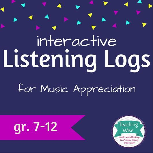 Interactive Notebook Listening Logs - easy music appreciation marks! Includes 19 pages of activities and reading comprehension, plus critical listening questions