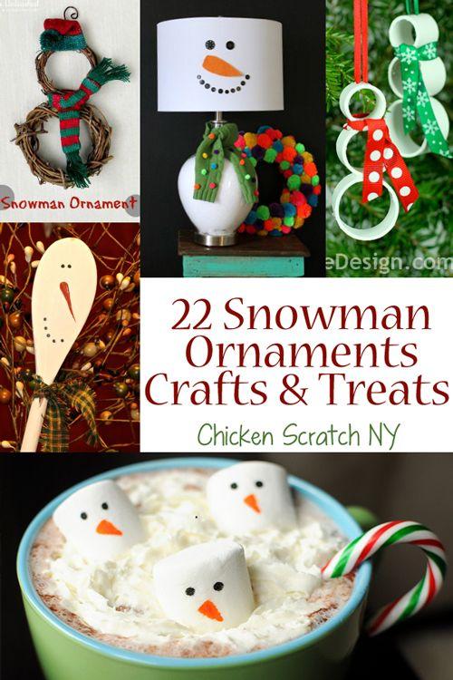 22 Snowman Ornaments, Crafts and Treats