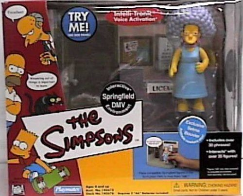 The Simpsons World of Springfield Interactive Enviroment Springfield DMV with Exclusive Selma Bouvier Figure by Playmates. $19.66. Includes over 30 phrases / Interacts with over 35 World of Springfield figures.. SPRINGFIELD DMV & EXCLUSIVE SELMA BOUVIER The Simpsons World Of Springfield Interactive Environement & Action Figure.. Ages 4 and up. From Playmates. Originally released in 2002 - Retired / Out of Production.. Selma Bouvier figure measures approximately 5 inch...