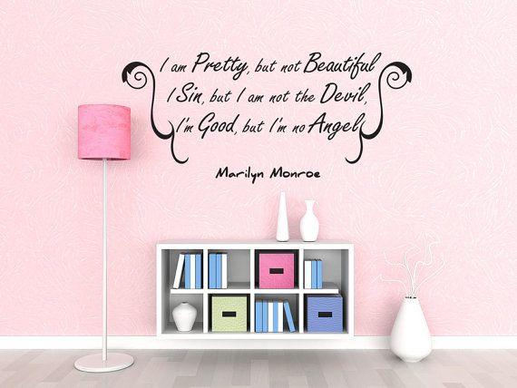I Am Pretty Vinyl Word Quote Wall Decal Marilyn Monroe Decor (J249)
