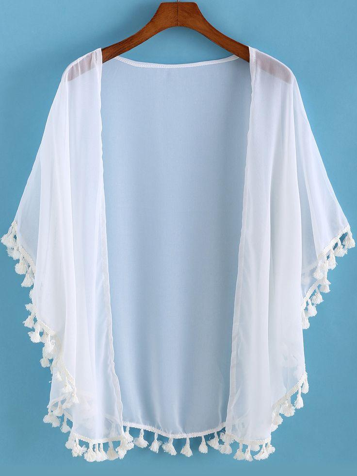 Kimono mousseline à franges -blanc  11.66