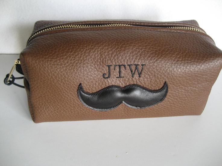Gift for Groomsman Groom Personalized Leather Mustache Shaving Bag Gift for Men Groomsmen Best Man. $70,00, via Etsy.