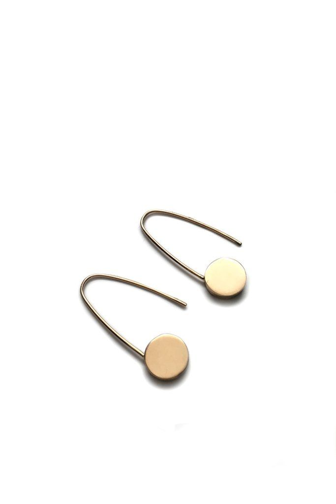 14K Gold Circle Safety Pin Earrings