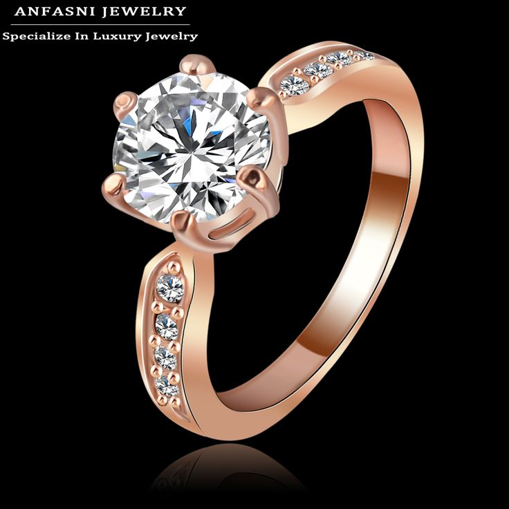 ANFASNI New Finger Ring Austrian Crystal Jewelry Rings Rose Gold Plated Genuine SWA Stellux Ring Ri-HQ1053