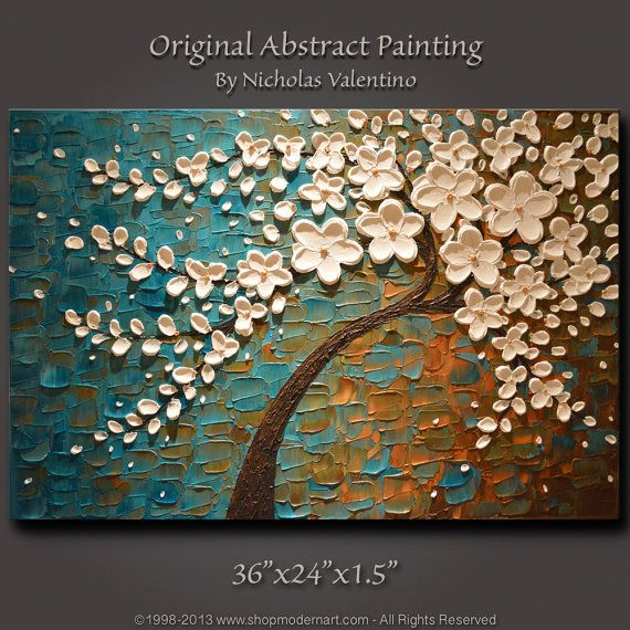 "Large 36""x24""x1.5"" Original Blossom Tree Painting Palette Knife Impasto Textured Gallery Canvas - Wired Ready to Hang FAST FREE SHIPPING"