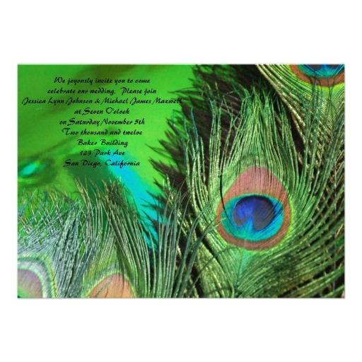 Green Foil Peacock Wedding Invitations