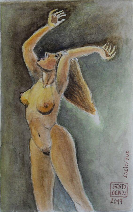 Acuarela de mujer con los brazos levantados. Solicitud, 2017 - Acuarela sobre papel, 11 x 17.8 cm  Solicitude, 2017 - Watercolour on paper. Demande, 2017 - Aquarelle sur papier. Gestodedios