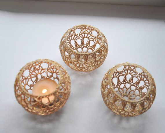 Crochet Candle Holders Wedding Table Centerpiece Set of 5