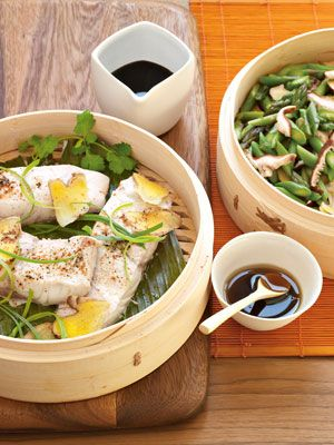 Recipes from The Nest - Bamboo-Steamed Sea Bass with Ginger, Mushrooms and Asparagus