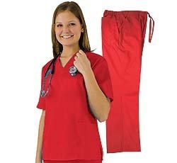Women's Scrub Set (Assorted Colors, XS-3X) Medical Scrub Top and Pant.