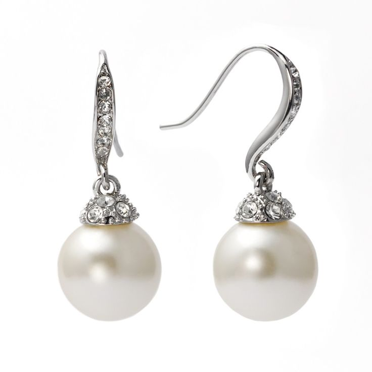 """Pearl Pave' Crystal Drop Earrings Silver"" These earrings as so perfectly classic, you'd expect to find them in an elegant lady's jewelry box from most any decade. A creamy, lustrous glass pearl dangles opulently from a graceful French wire in gleaming silvertone with diamond like pave' crystal accents for maximum allure. Whether you pair them with a cashmere sweater or an haute couture gown, you'll want these earrings in your own jewelry box for decades to come."