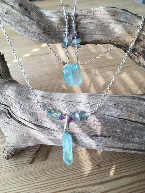Labradorite Fluorite and Rainbow aura Aqua Blue Quartz