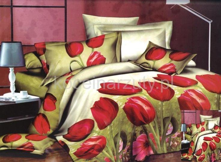 Pościel oliwkowa z mikrowłókna w czerwone tulipany