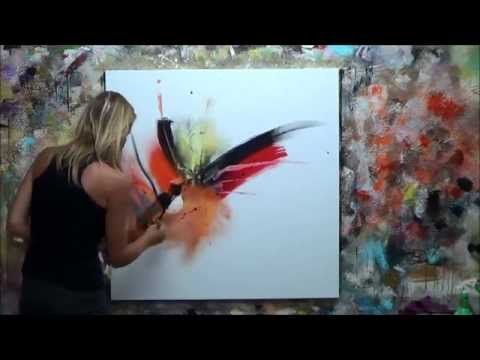 "Abstract Painting Demonstration (7) Elisabeth – ""Vibration"" Canvas – YouTube"