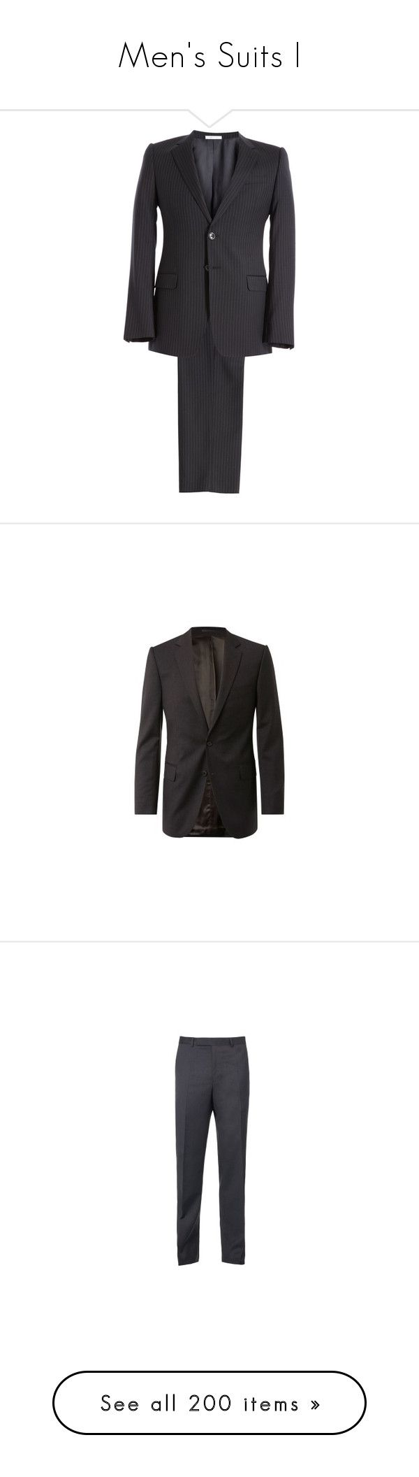 """""""Men's Suits I"""" by the-walking-doctor ❤ liked on Polyvore featuring men's fashion, men's clothing, men's suits, mens navy pinstripe suit, merino wool mens clothing, mens navy suit, mens pinstripe suit, men's 2 piece suits, outerwear and jackets"""
