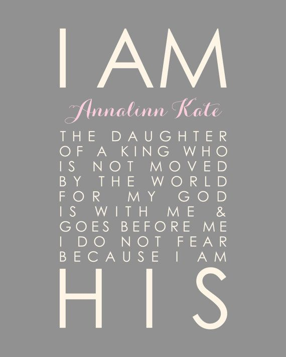 Baptism Gift First Communion Gift Pink and Grey Nursery I Am His Daughter of a King by karimachal, $18.00