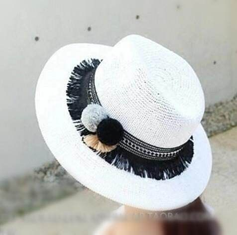 Pom pom fringe sun hats for women  wide brim straw hats