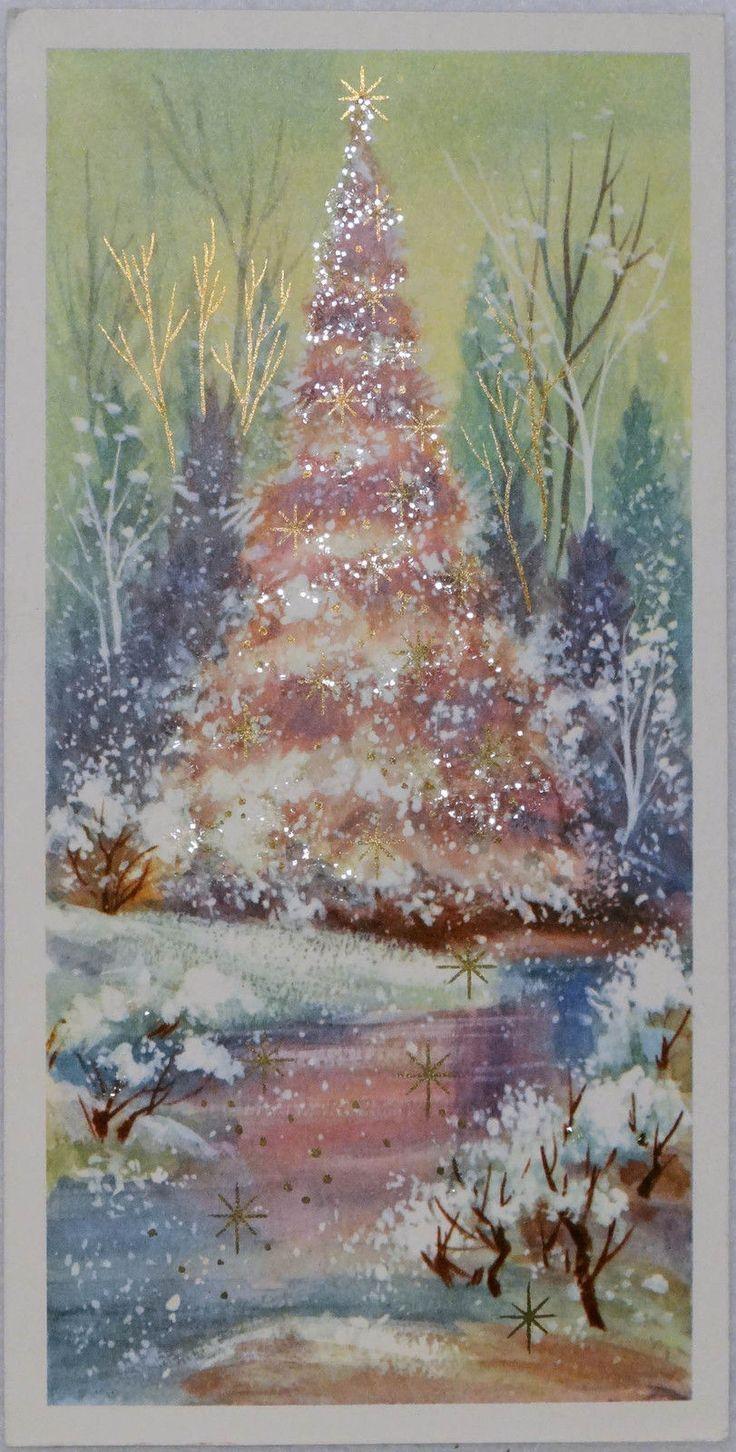 743 60s Rust Craft Pink Glittered Tree Vintage Christmas Greeting Card | eBay