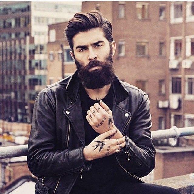 layered undercut with beard