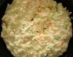 Creamy Buttermilk Coleslaw Recipe ~ You salt the cabbage, which makes it wilt so that it will be TENDER. Don't skimp! It will be worth it.