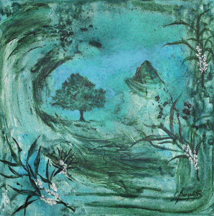 El Árbol del Té, técnica mixta sobre tela, 40 x 40 cms.  @copyright Carolina Busquets.