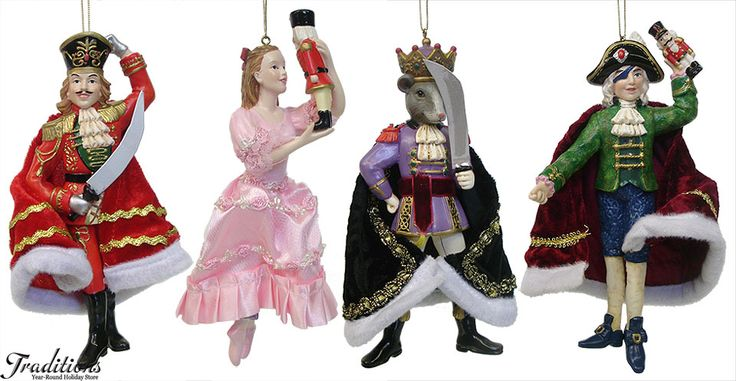 Nutcracker ornaments- the Prince, Clara/Marie, the Mouse King, and Godfather Drosselmeyer