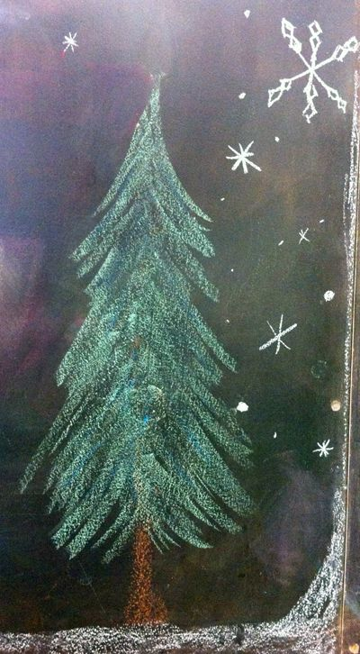 Chalkboard Drawing Fir Tree