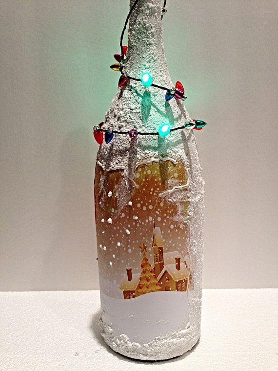 Upcycled Decoupaged  Bottle, Christmas  Decoration. on Etsy, $30.00