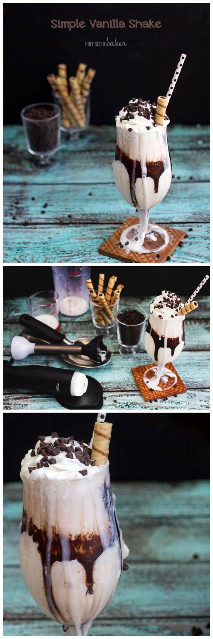 Simple Vanilla Milkshake Recipe made using the OXO On Illuminating Digital Immersion Blender
