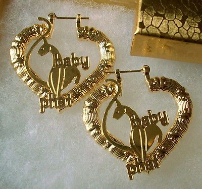 "18K GF GOLD Big Textured BAMBOO HEART SHAPED BABY PHAT Cat Hoop EARRINGS 2.5"" L"