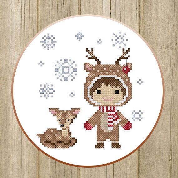PDF. Winter Girl and Deer. Cross stitch pattern by SecretFriends