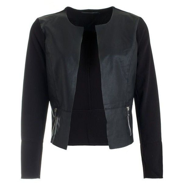 onlhope kim pu mix jacket 15103197 only blazers black ($1.68) ❤ liked on Polyvore featuring outerwear, jackets, blazers, pu jacket, blazer jacket and polyurethane jacket