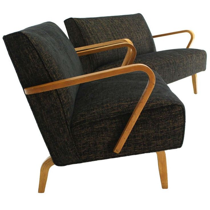 Pair of Mid-Century Modern Loveseats, New Upholstery | From a unique collection of antique and modern loveseats at https://www.1stdibs.com/furniture/seating/loveseats/